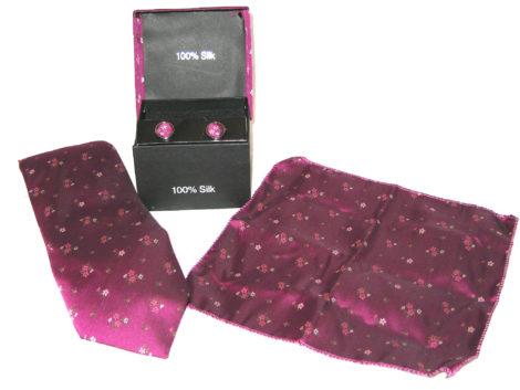 maroon flowers tie gift set