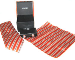 orange brown stripe tie gift set