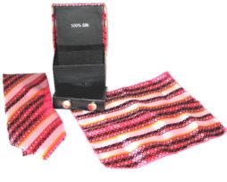 pink squares tie gift set