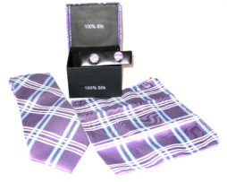 purple blue plaid tie gift set