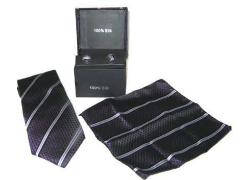 purple diamond tie gift set
