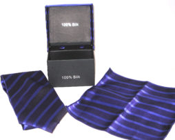 purple stripe tie gift set