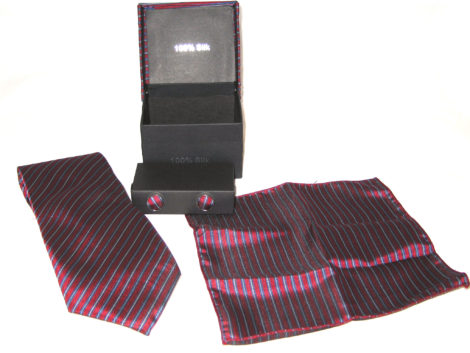 red blue stripe tie gift set
