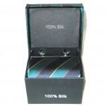 teal black stripe tie