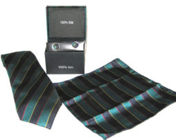 teal black stripe tie gift set