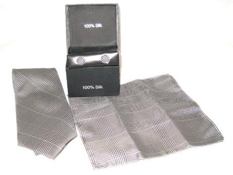 white black plaid tie gift set
