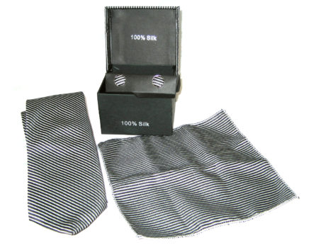 white black stripe tie gift set