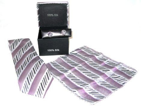 white purple diagonal stripe tie gift set
