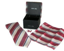 white red stripe tie gift set