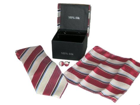white red stripe tie gift set